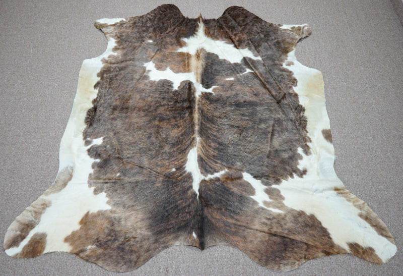 Extra Large brindle style exotic Cowhide rug 7.3 X 6.9ft -3873