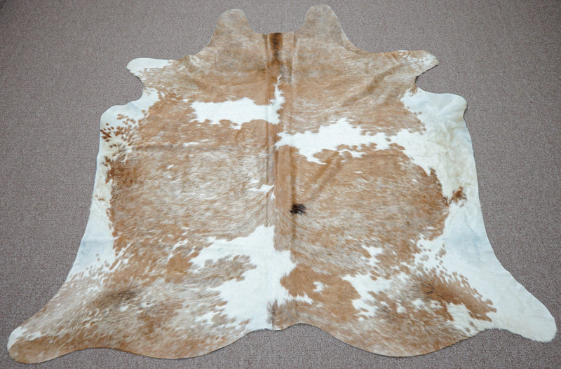 Extra Large rustic style exotic Cowhide rug 6.1 X 5.7ft -3884