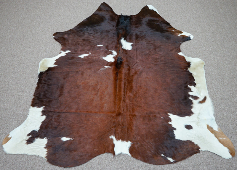 Extra Large brindle style exotic Cowhide rug 6.7 X 5.9ft -3899