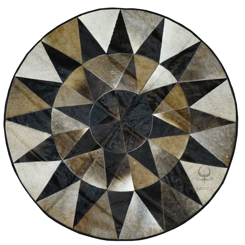 Star Round Cowhide Patchwork Rug Large - Rodeo Cowhide Rugs