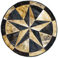 Texas Star Round Cowhide Patchwork Rug - Rodeo Cowhide Rugs