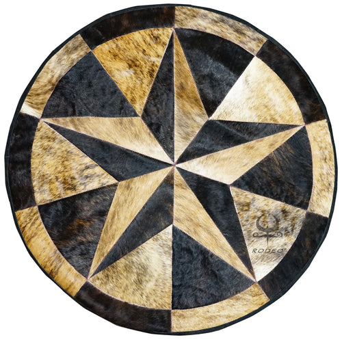Texas Star Round Cowhide Patchwork Rug