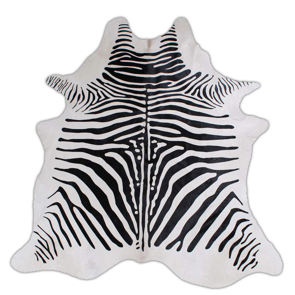 Rodeo Zebra Print On White Cowhide Rug