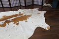 RODEO Light Brown & White Cowhide Rug - 8.1x5.2ft - Rodeo Cowhide Rugs