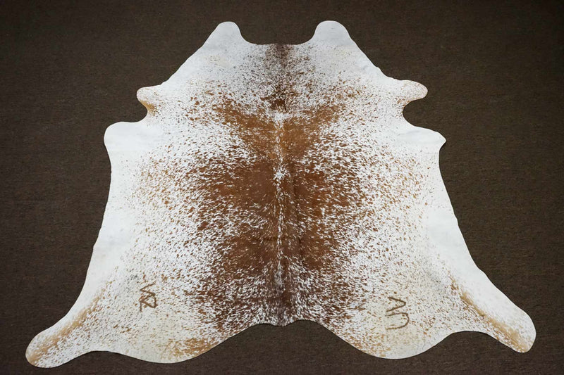 Freckled Brown Salt and Pepper Original Cowhide Rug - OG - 352 [Size: 7'1 x 6'9] - Rodeo Cowhide Rugs