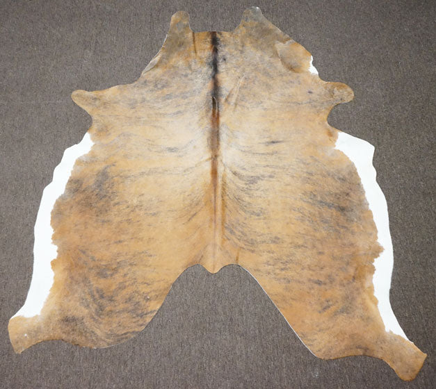 Classic Brindle w/ White Belly Cowhide Rug - OG - 469 [Size: 6'2 x 5'5] - Rodeo Cowhide Rugs