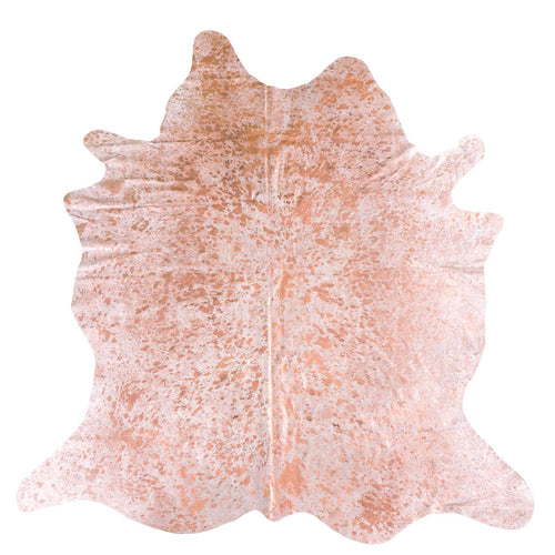 Rose Gold Acid Wash on White Cowhide Rug - Rodeo Cowhide Rugs