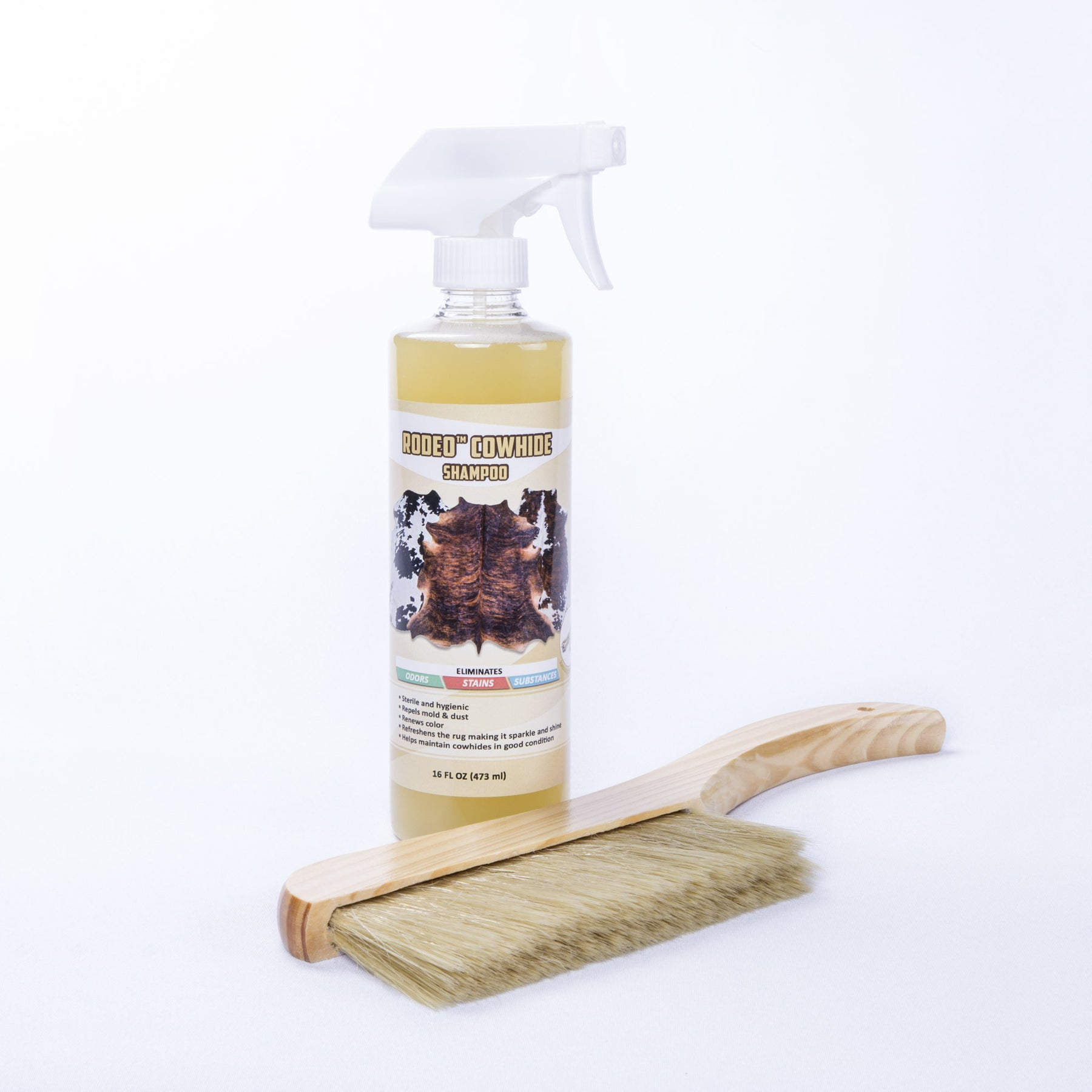 Rodeo Cowhide Soft Bristle Brushshampoo Rug Cleaner Combo Rodeo