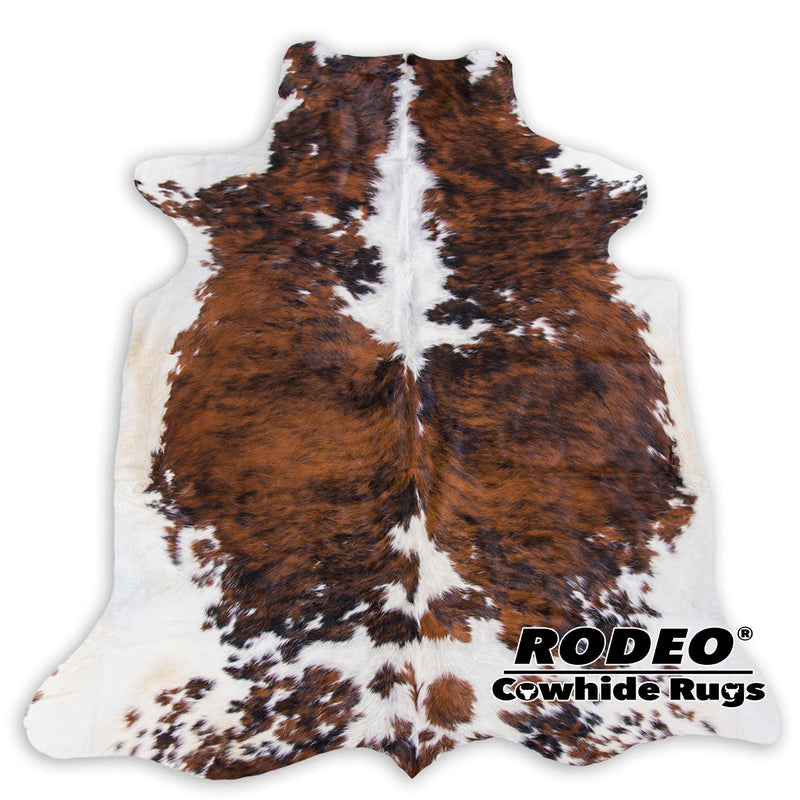 You Get More! Amazing Cowhide Skin Rug Tricolor Brown Caramel Large Size - Rodeo Cowhide Rugs