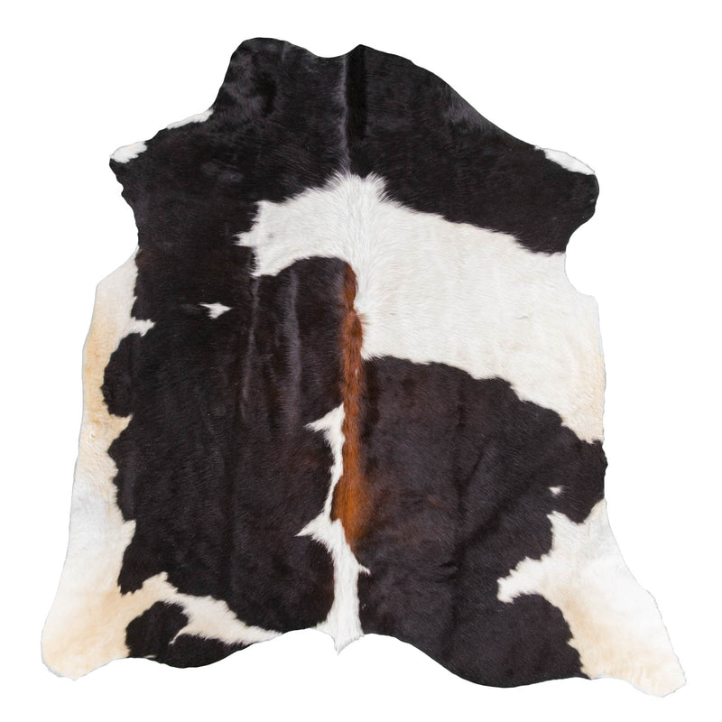 Black & White with Brown Shade Line Cowhide Rug - Rodeo Cowhide Rugs