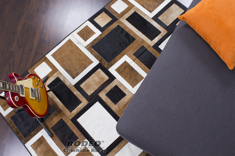 Gorgeous Tricolor Patchwork Rug - Rodeo Cowhide Rugs