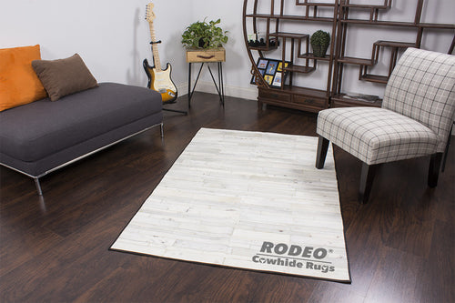 Brilliant White Patchwork Rug - Rodeo Cowhide Rugs