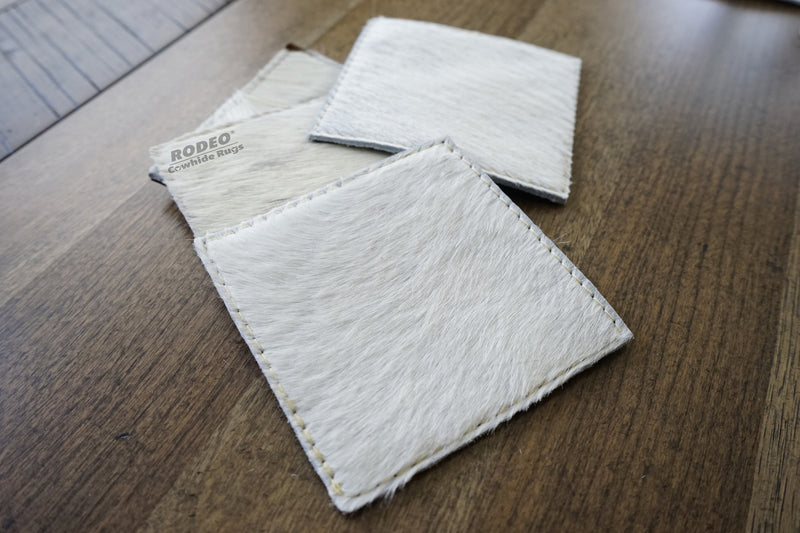 Handmade Ivory Rodeo Cowhide Leather Coaster 4 piece set - Rodeo Cowhide Rugs
