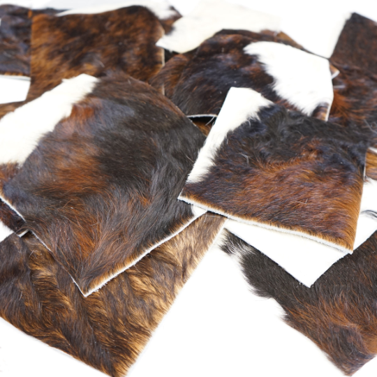 Hair on Cowhide Scrap Leather Hide Remnants 10 Pieces - Rodeo Cowhide Rugs