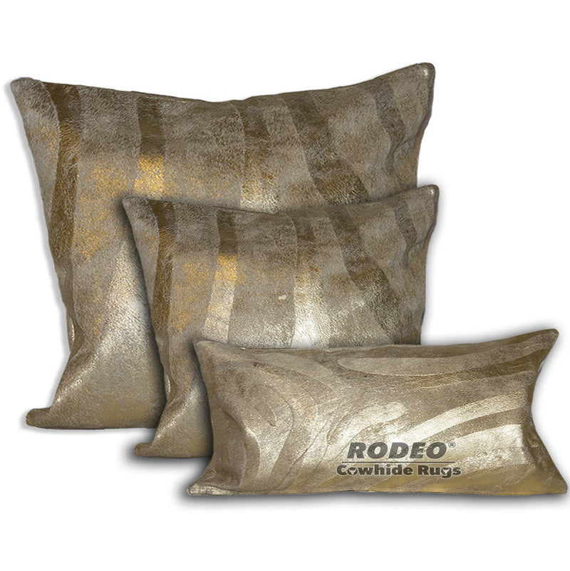 Metalic Gold Zebra Print Cowhide Pillow Case 3 Piece Value Set - Rodeo Cowhide Rugs