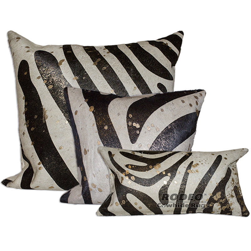 Brown and Gold Zebra Print Cowhide Pillow Case 3 Piece Value Set - Rodeo Cowhide Rugs