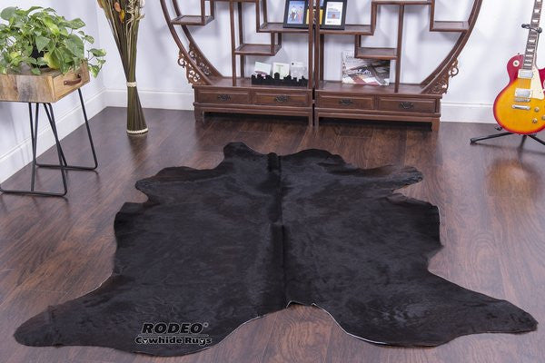 Sensational Solid Black Cowhide Rug - Rodeo Cowhide Rugs