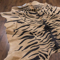 tiger printed cowhide rug
