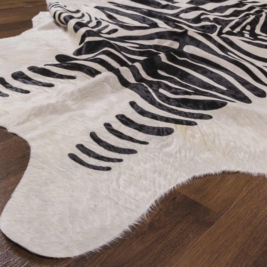 Graham And Green Zebra Rug: Black And White Zebra Print On Cowhide Rug