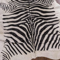 Zebra Print on White Cowhide Rug - Rodeo Cowhide Rugs