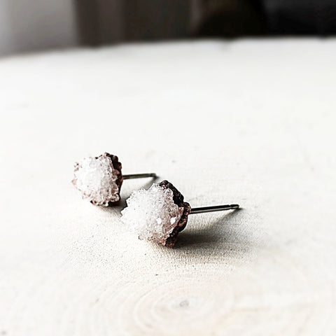 Clear Quartz Druzy Earrings - Made to Order