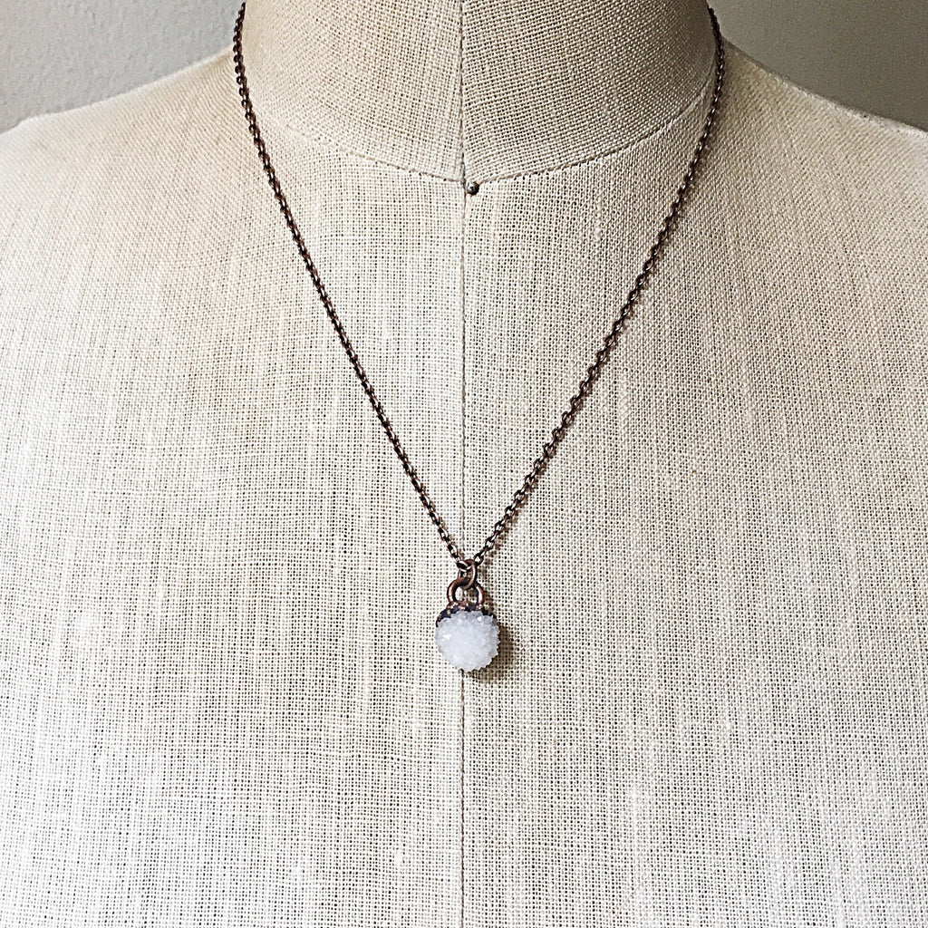 Clear Quartz Druzy Necklace - Made to Order