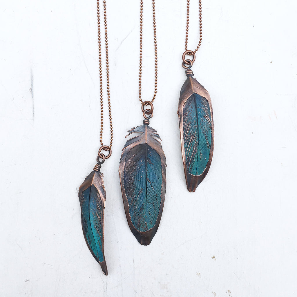 Electroformed Macaw Feather Necklace - Made to Order