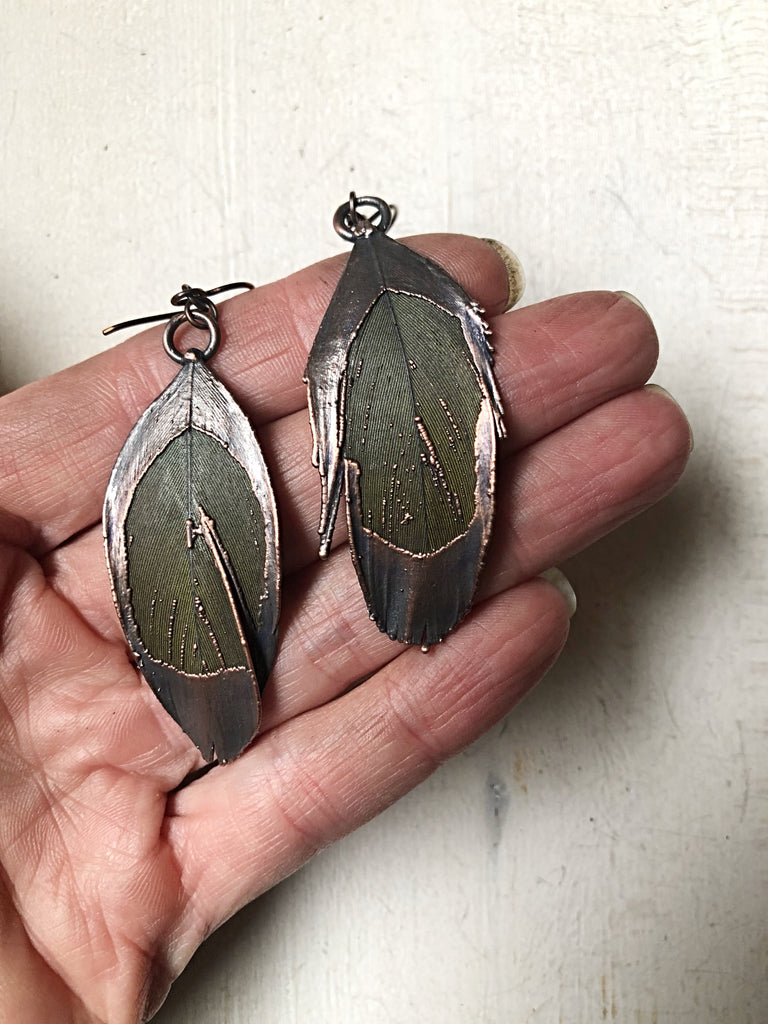Electroformed Green Macaw Feather Earrings - Ready to Ship