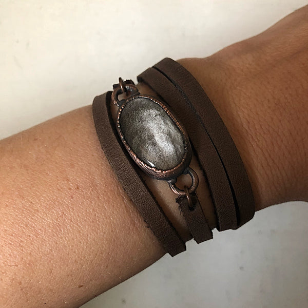 Silver Obsidian and Leather Wrap Bracelet/Choker - Ready to Ship