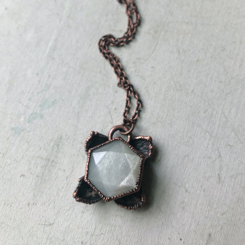 White Moonstone Hexagon and Hydrangea Necklace #2 - Ready to Ship