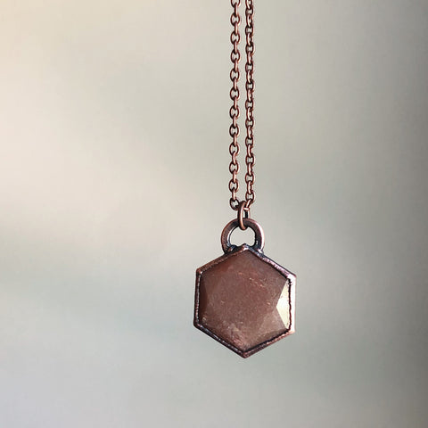 Sunstone Hexagon Necklace #2 - Ready to Ship