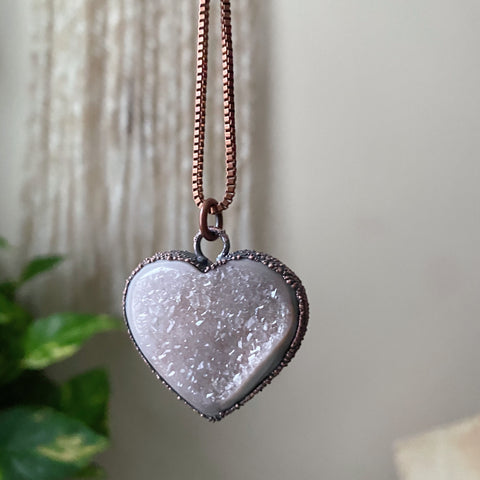 "Agate Druzy ""Broken Open"" Heart Necklace - Ready to Ship"