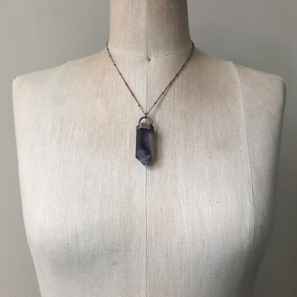 Fluorite Polished Point Necklace #5 - Ready to Ship