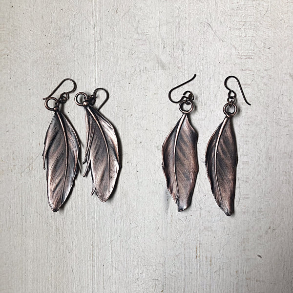 Electroformed  Feather Earrings (Large) - Ready to Ship