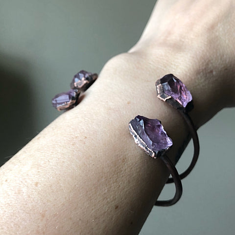 Raw Amethyst Chakra Cuff Bracelet - Ready to Ship