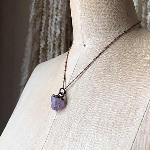 Raw Tibetan Amethyst Mini Cluster Necklace #2