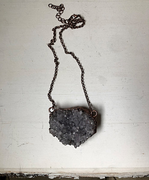 Raw Natural Amethyst Druzy Necklace