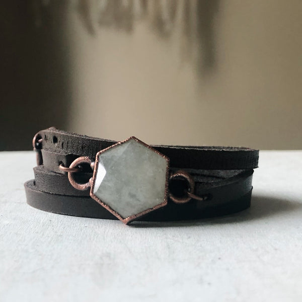 White Moonstone Hexagon and Leather Wrap Bracelet/Choker #1 - Ready to Ship