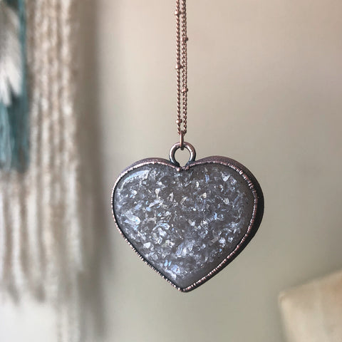 "Agate Druzy ""Broken Open"" Heart Necklace #1 - Ready to Ship"