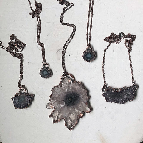 Amethyst Stalactite Slice Necklaces - Snow Moon Collection