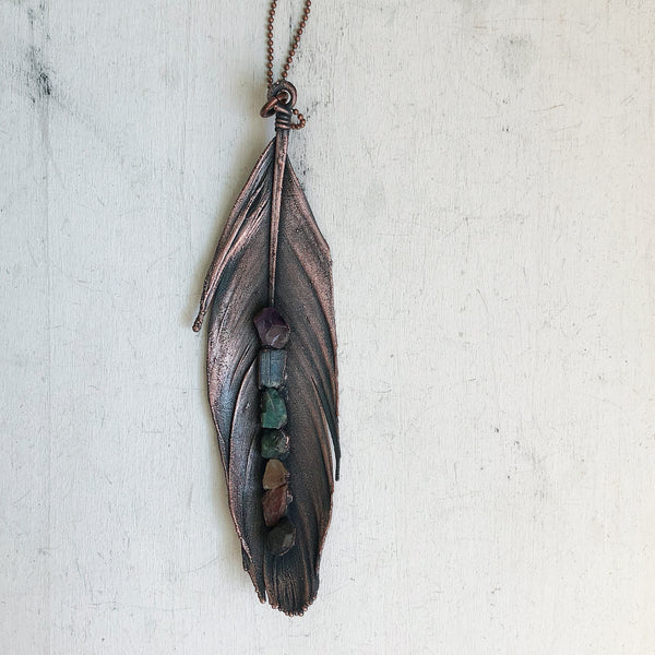Electroformed Feather Necklace with Raw Chakra Stones #1 - Ready to Ship