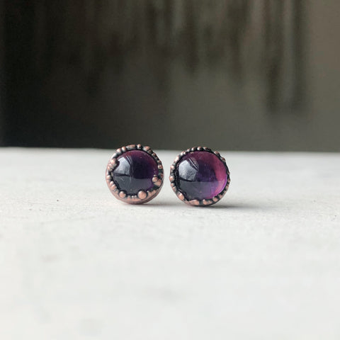 Round Amethyst Earrings #3 - Ready to Ship