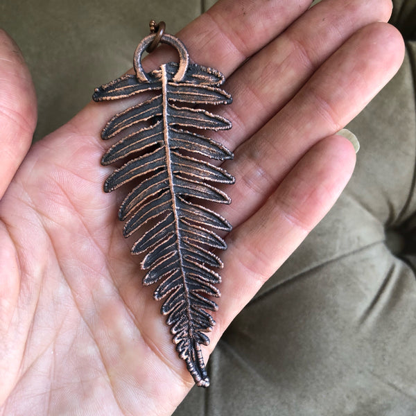 Electroformed Fern with Raw Green Kyanite Necklace #1