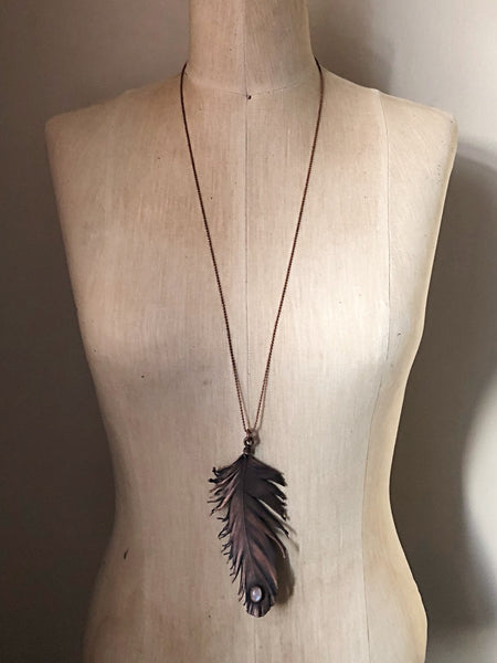 Electroformed Feather and Rainbow Moonstone Necklace