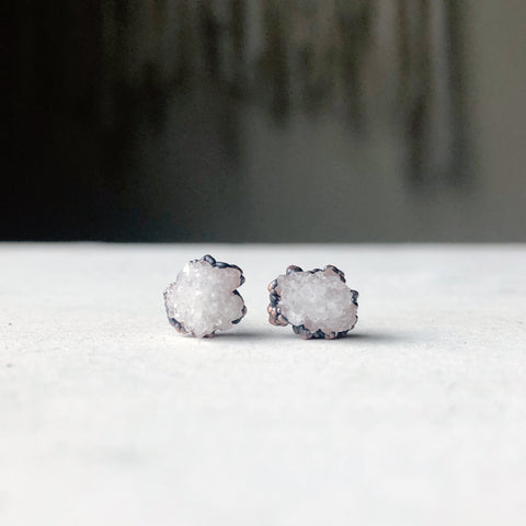Clear Quartz Druzy Earrings #3 - Ready to Ship