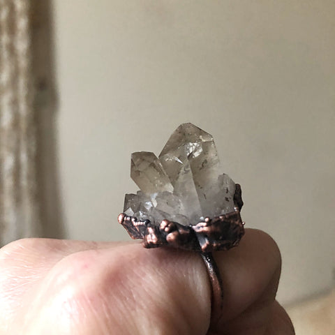 Raw Smoky Quartz Cluster Large Statement Ring - (Super Blood Wolf Moon)