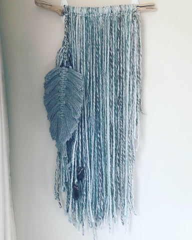 Full Moon in Virgo Wall Hanging with Macrame Feather and Raw Smoky Quartz Points - Ready to Ship