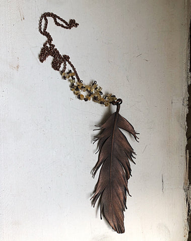 Electroformed Large Wild Feather & Raw Citrine Necklace (Icarus Soaring)