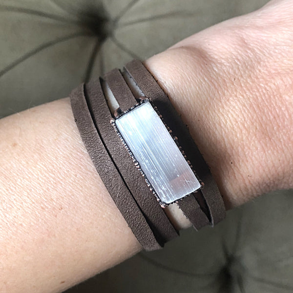 Selenite and Leather Wrap Bracelet/Choker - Made to Order