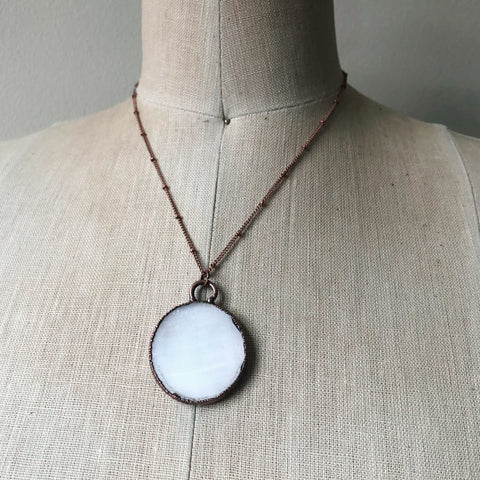 Selenite Snow Moon Necklace #2 - Ready to Ship